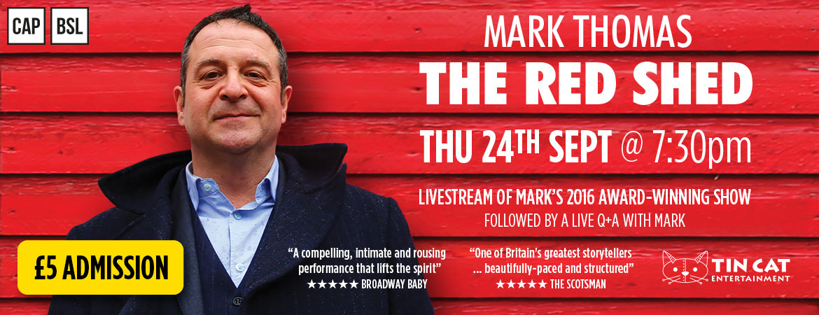 Buy a ticket to the livestream of 'The Red Shed' – Thursday 24th September 2020 at 7:30pm – £5 Admission